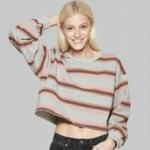 NWOT Wild Fable Striped Cropped Sweatshirt (XXL)
